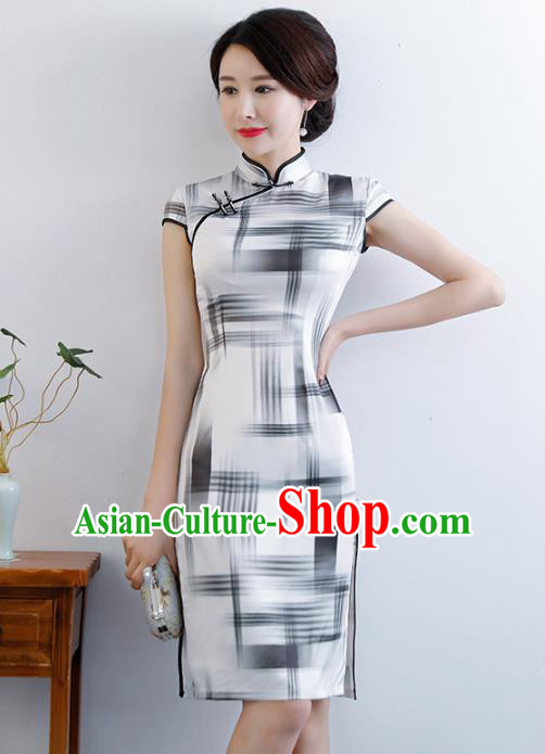 Chinese Traditional Mandarin Qipao Dress National Costume Printing White Silk Cheongsam for Women