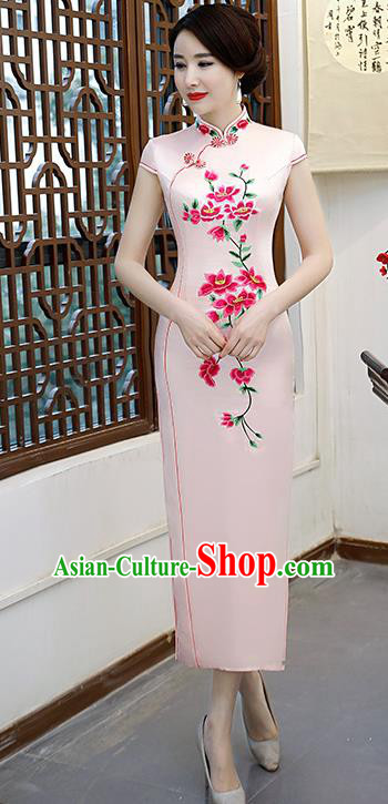 Chinese Traditional Pink Mandarin Qipao Dress National Costume Embroidered Silk Cheongsam for Women