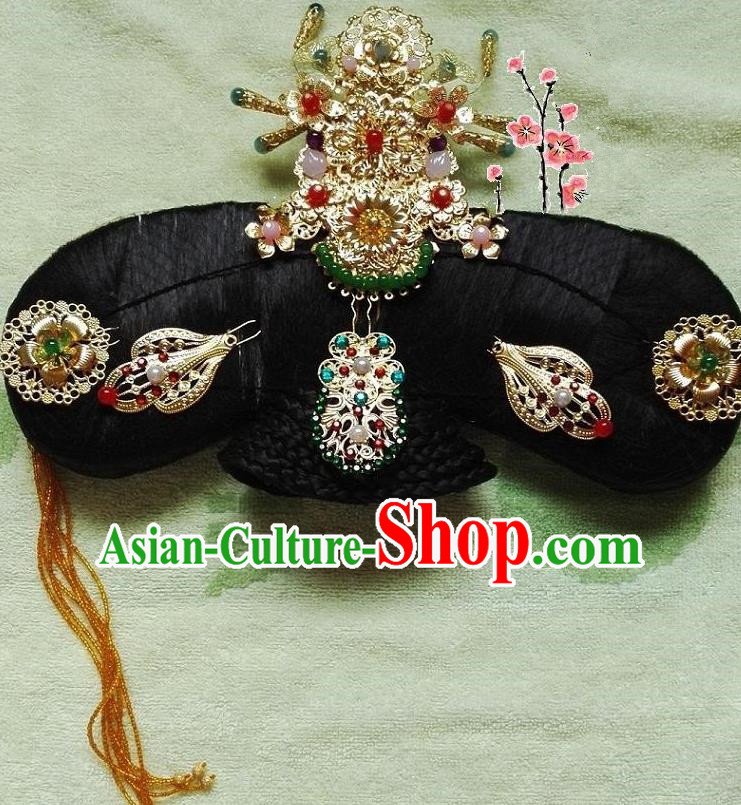 Traditional Chinese Ancient Manchu Palace Lady Hair Accessories Phoenix Coronet Hairpins Complete Set for Women
