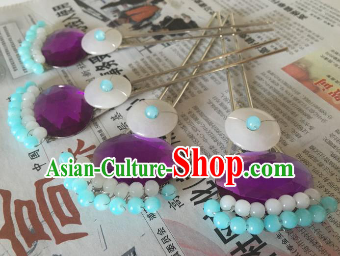 Traditional Chinese Ancient Palace Lady Hair Accessories Hairpins Blue Beads Tassel Step Shake for Women