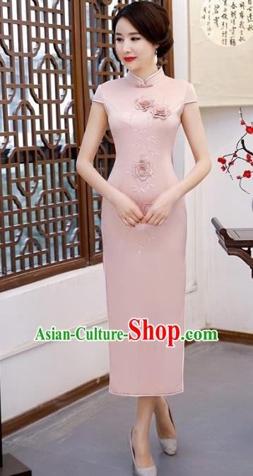 Chinese Traditional Tang Suit Embroidered Qipao Dress National Costume Pink Silk Mandarin Cheongsam for Women