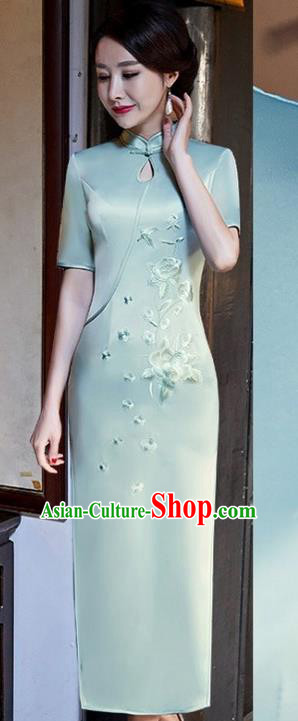 Chinese Traditional Tang Suit Embroidered Peony Qipao Dress National Costume Light Green Silk Mandarin Cheongsam for Women
