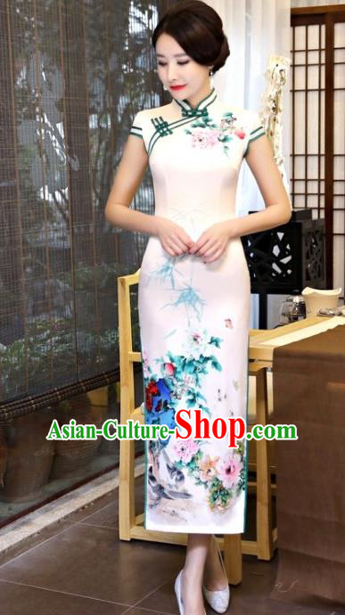 Chinese Traditional Tang Suit White Silk Qipao Dress National Costume Mandarin Cheongsam for Women