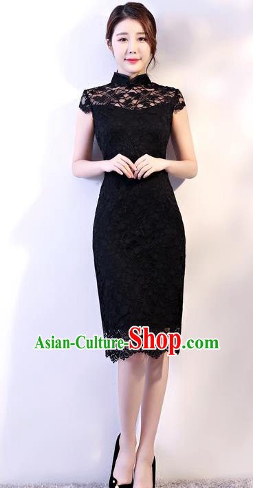 Chinese Traditional Tang Suit Black Embroidered Lace Qipao Dress National Costume Mandarin Cheongsam for Women