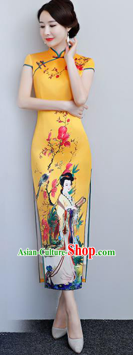 Chinese Traditional Tang Suit Printing Beauty Qipao Dress National Costume Yellow Silk Mandarin Cheongsam for Women