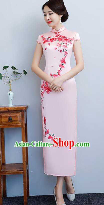 Chinese Traditional Tang Suit Printing Peach Blossom Qipao Dress National Costume Pink Silk Mandarin Cheongsam for Women