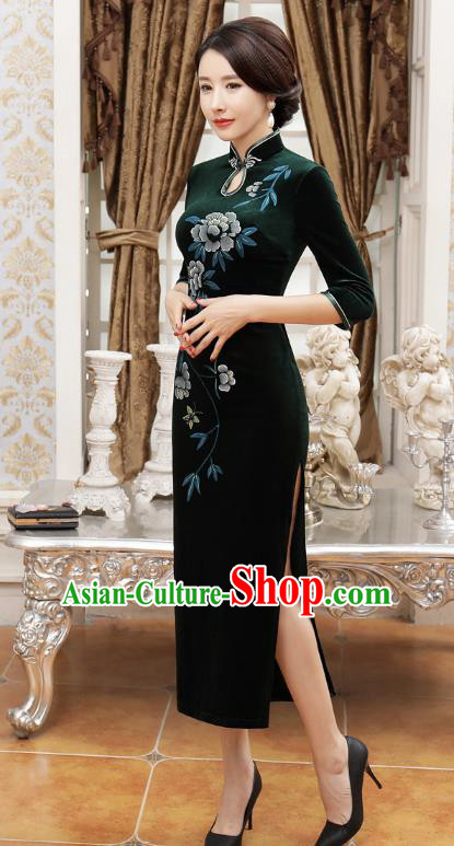 Chinese Traditional Tang Suit Green Velvet Qipao Dress National Costume Retro Long Mandarin Cheongsam for Women