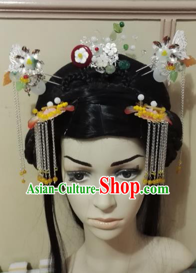 Traditional Chinese Ancient Princess Hair Accessories Hairpins Tassel Step Shake Complete Set for Women