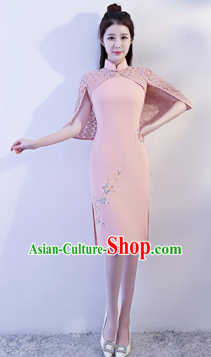 Chinese Traditional Pink Mandarin Qipao Dress National Costume Tang Suit Cheongsam for Women