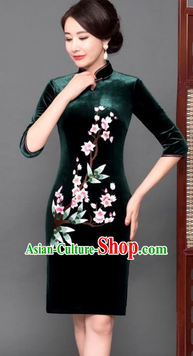 Chinese Traditional Tang Suit Qipao Dress National Costume Green Pleuche Mandarin Cheongsam for Women