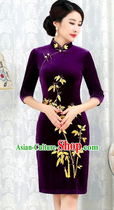 Chinese Traditional Tang Suit Qipao Dress National Costume Printing Bamboo Pleuche Mandarin Cheongsam for Women