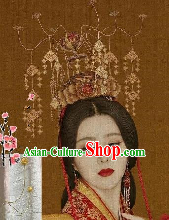 Traditional Chinese Ancient Hair Accessories Golden Tassel Phoenix Coronet Hairpins for Women
