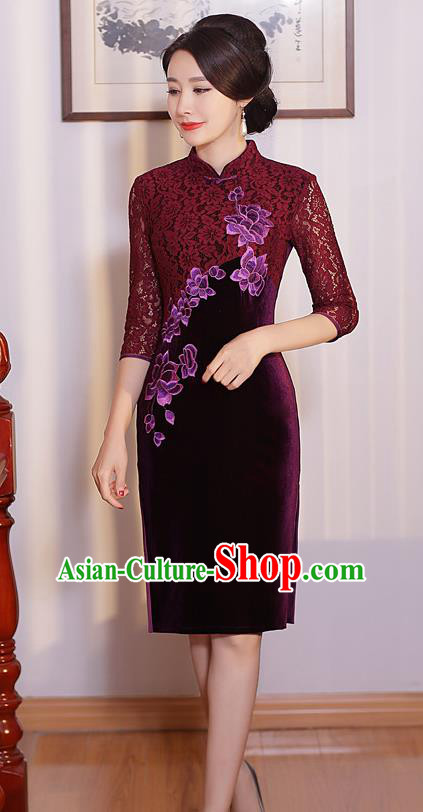 Chinese Traditional Tang Suit Embroidered Qipao Dress National Costume Retro Purple Lace Mandarin Cheongsam for Women