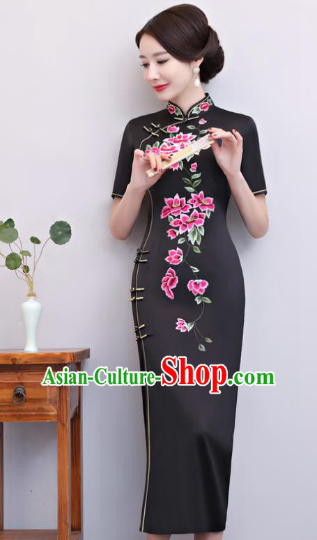 Chinese Traditional Tang Suit Embroidered Black Qipao Dress National Costume Mandarin Cheongsam for Women