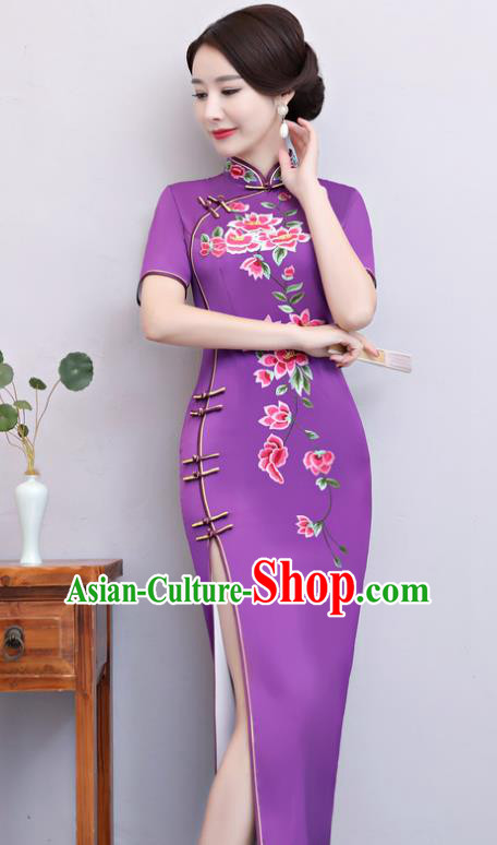 Chinese Traditional Tang Suit Embroidered Purple Qipao Dress National Costume Mandarin Cheongsam for Women
