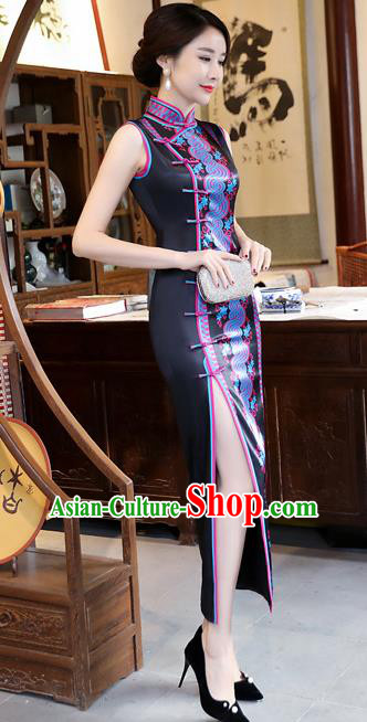 Chinese Traditional Tang Suit Qipao Dress National Costume Black Silk Mandarin Cheongsam for Women