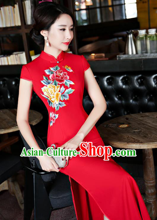 Chinese Traditional Tang Suit Embroidered Red Qipao Dress National Costume Mandarin Cheongsam for Women