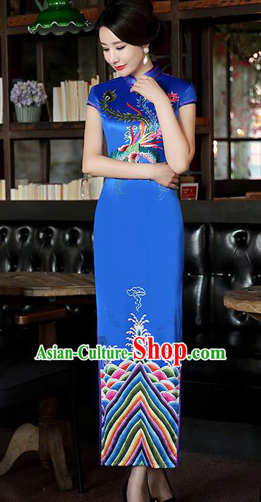Top Grade Chinese Traditional Blue Silk Qipao Dress National Costume Tang Suit Mandarin Cheongsam for Women