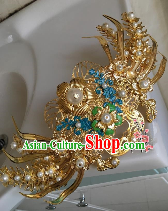 Traditional Chinese Ancient Queen Hair Accessories Golden Phoenix Coronet Hairpins for Women