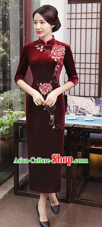 Top Grade Chinese Traditional Qipao Dress National Costume Red Velvet Mandarin Cheongsam for Women