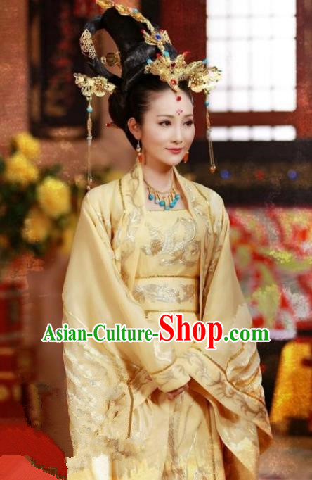 Chinese Ancient Tang Dynasty Empress Wang of Li Zhi Embroidered Replica Costume for Women