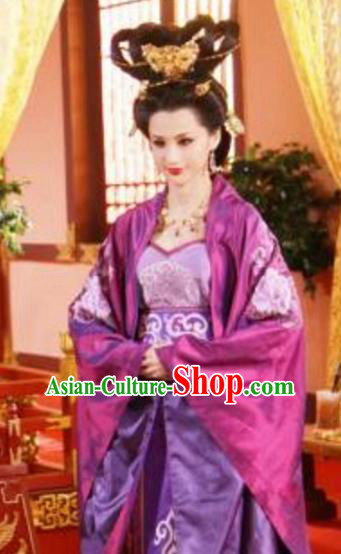 Chinese Ancient Tang Dynasty Empress Wang Embroidered Hanfu Dress Replica Costume for Women