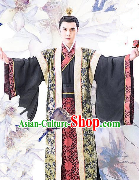 Chinese Ancient Tang Dynasty Royal Prince Shou Li Mao Embroidered Replica Costume for Men
