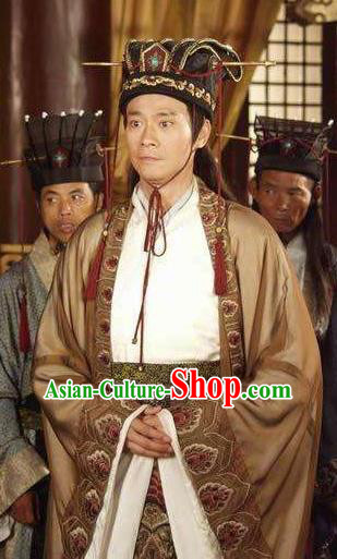 Chinese Ancient Tang Dynasty Minister Lou Shide Replica Costume for Men