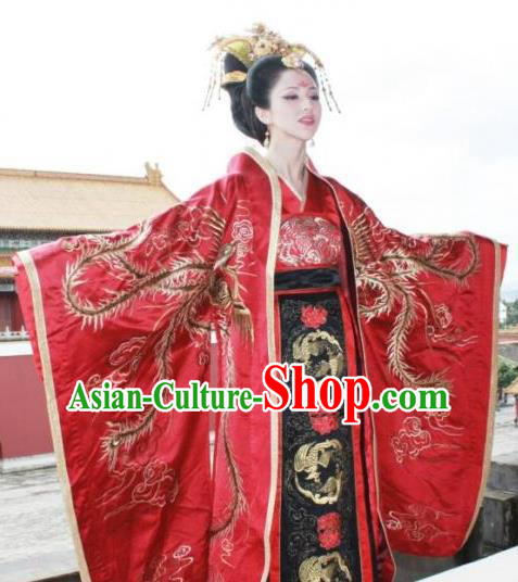 Chinese Ancient Tang Dynasty Imperial Empress Wang of Li Zhi Dress Embroidered Replica Costume for Women