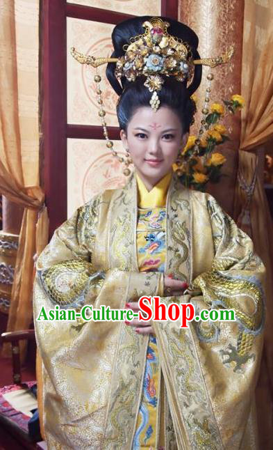 Chinese Ancient Tang Dynasty Imperial Empress Wu Zetian Dress Embroidered Replica Costume for Women
