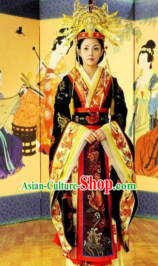 Chinese Ancient Tang Dynasty Imperial Consort Yang Hanfu Dress Embroidered Replica Costume for Women