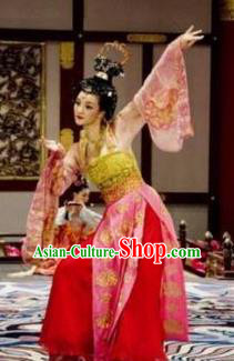Traditional Chinese Ancient Tang Dynasty Palace Lady Dance Dress Embroidered Replica Costume for Women