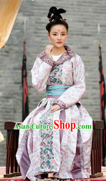 Traditional Chinese Ancient Tang Dynasty Palace Lady Shangguan WanEr Embroidered Replica Costume for Women