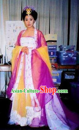 Chinese Ancient Tang Dynasty Imperial Consort Wu Meiniang Hanfu Dress Embroidered Replica Costume for Women