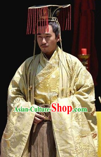 Chinese Ancient Emperor Yizong of Tang Dynasty Li Cui Replica Costume and Headpiece Complete Set for Men