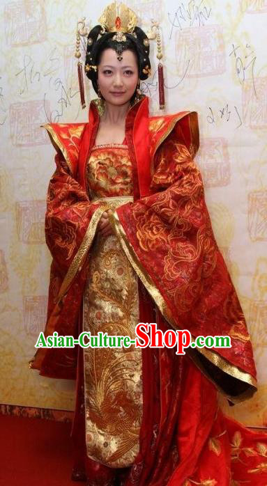 Traditional Chinese Ancient Tang Dynasty Imperial Concubine Embroidered Wedding Dress Replica Costume for Women