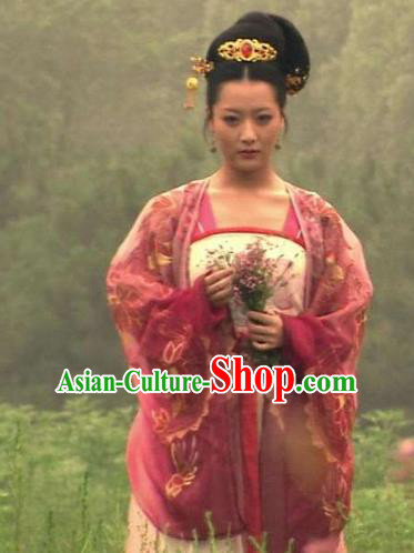 Traditional Chinese Ancient Palace Lady Tang Dynasty Imperial Concubine Embroidered Dress Replica Costume for Women