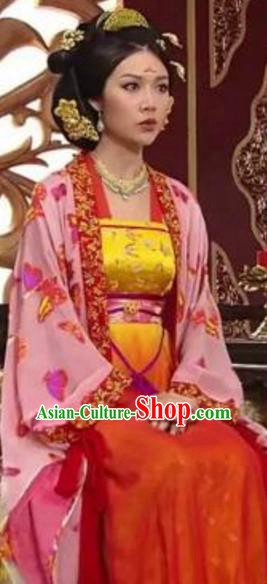Traditional Chinese Ancient Palace Lady Tang Dynasty Princess Yonghe Embroidered Dress Replica Costume for Women