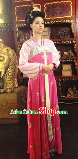 Traditional Chinese Ancient Tang Dynasty Shangguan Waner Embroidered Dress Replica Costume for Women