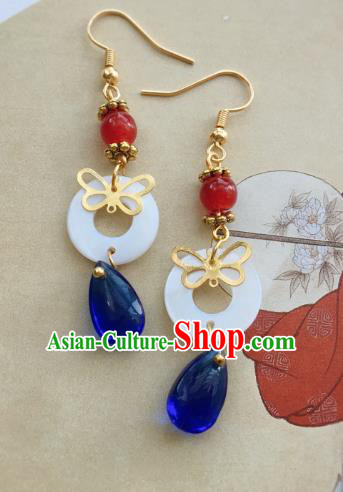Traditional Chinese Ancient Jewelry Accessories Shell Earrings Blue Crystal Eardrop for Women