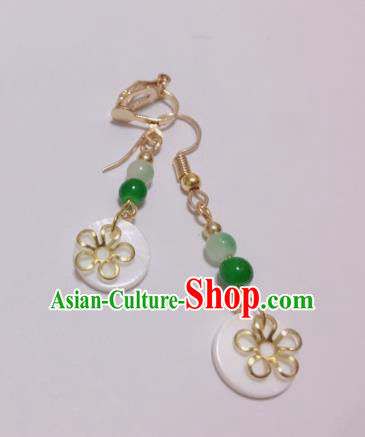 Traditional Chinese Ancient Jewelry Accessories Green Beads Earrings Eardrop for Women