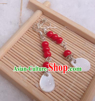 Traditional Chinese Ancient Jewelry Accessories Red Beads Earrings Eardrop for Women