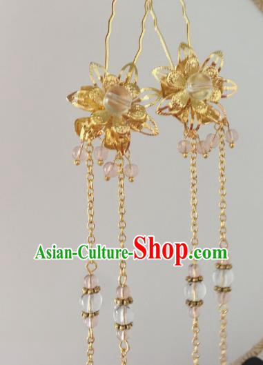 Traditional Chinese Ancient Hair Accessories Hair Clip Golden Tassel Step Shake Hanfu Hairpins for Women