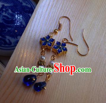 Traditional Chinese Ancient Jewelry Accessories Blue Flowers Earrings Eardrop for Women