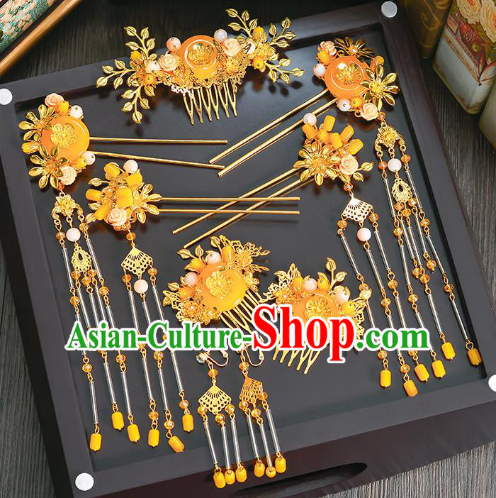 Traditional Chinese Ancient Bride Hair Accessories Xiuhe Suit Yellow Phoenix Coronet Hairpins Complete Set for Women