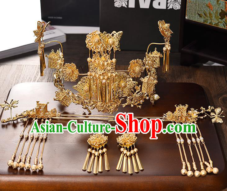Traditional Chinese Ancient Hair Accessories Xiuhe Suit Bride Phoenix Coronet Hairpins Complete Set for Women