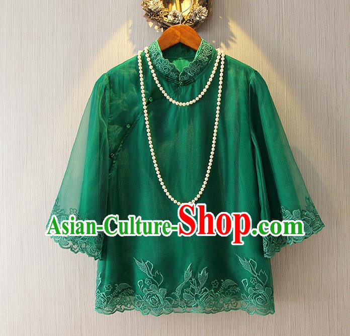 Chinese Traditional National Cheongsam Blouse Tangsuit Stand Collar Green Embroidered Shirts for Women