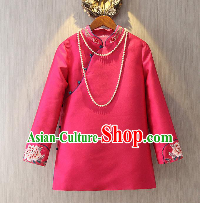Chinese Traditional National Cheongsam Rosy Blouse Tangsuit Stand Collar Embroidered Shirts for Women