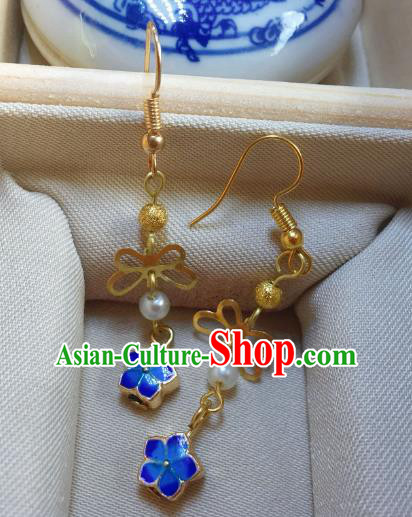 Traditional Chinese Ancient Jewelry Accessories Blueing Flowers Earrings Eardrop for Women