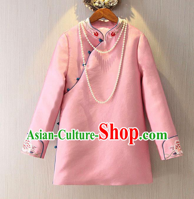 Chinese Traditional National Cheongsam Pink Blouse Tangsuit Stand Collar Embroidered Shirts for Women